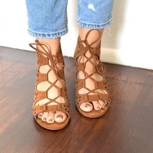 BP heeled dark tan sandal size 5.5